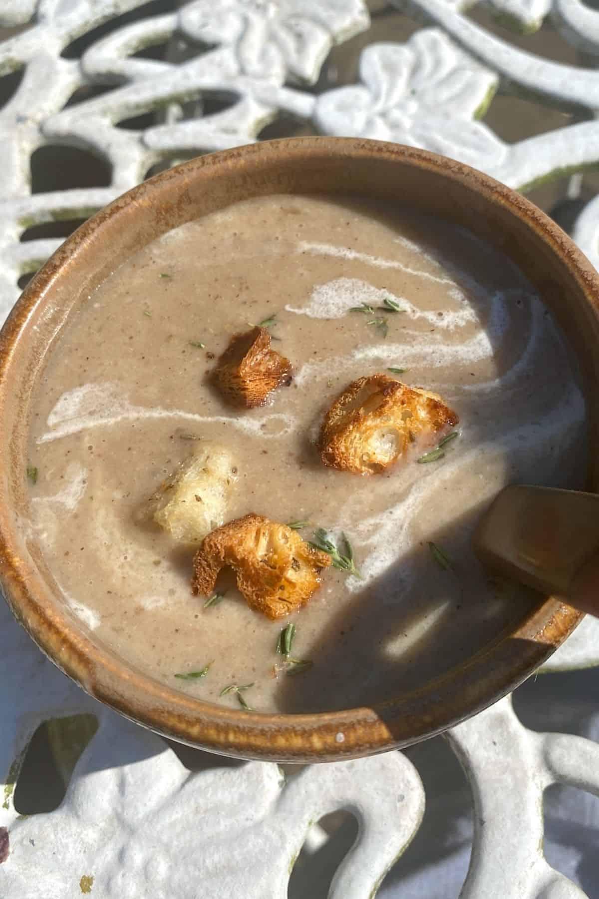 Garlic Potato Soup in a bowl