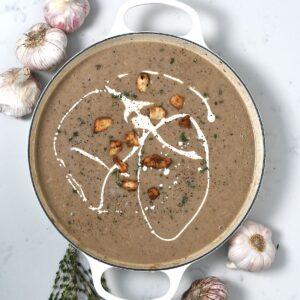 A pot with garlic soup