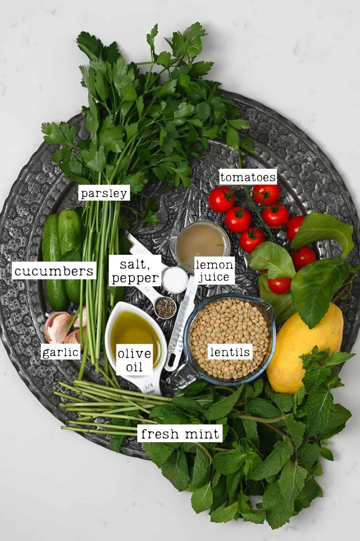 Ingredients for lentil salad