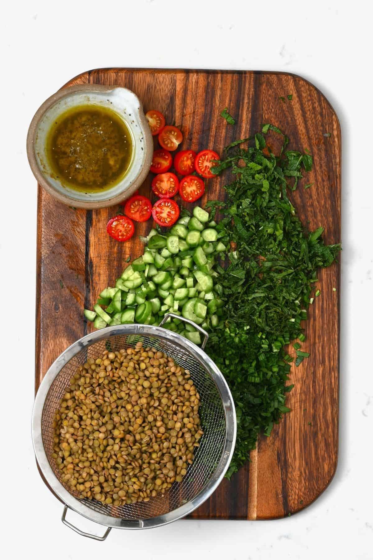 Prepared ingredients for lentil salad
