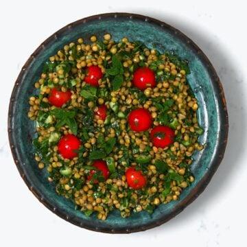 Lentil salad in a bowl