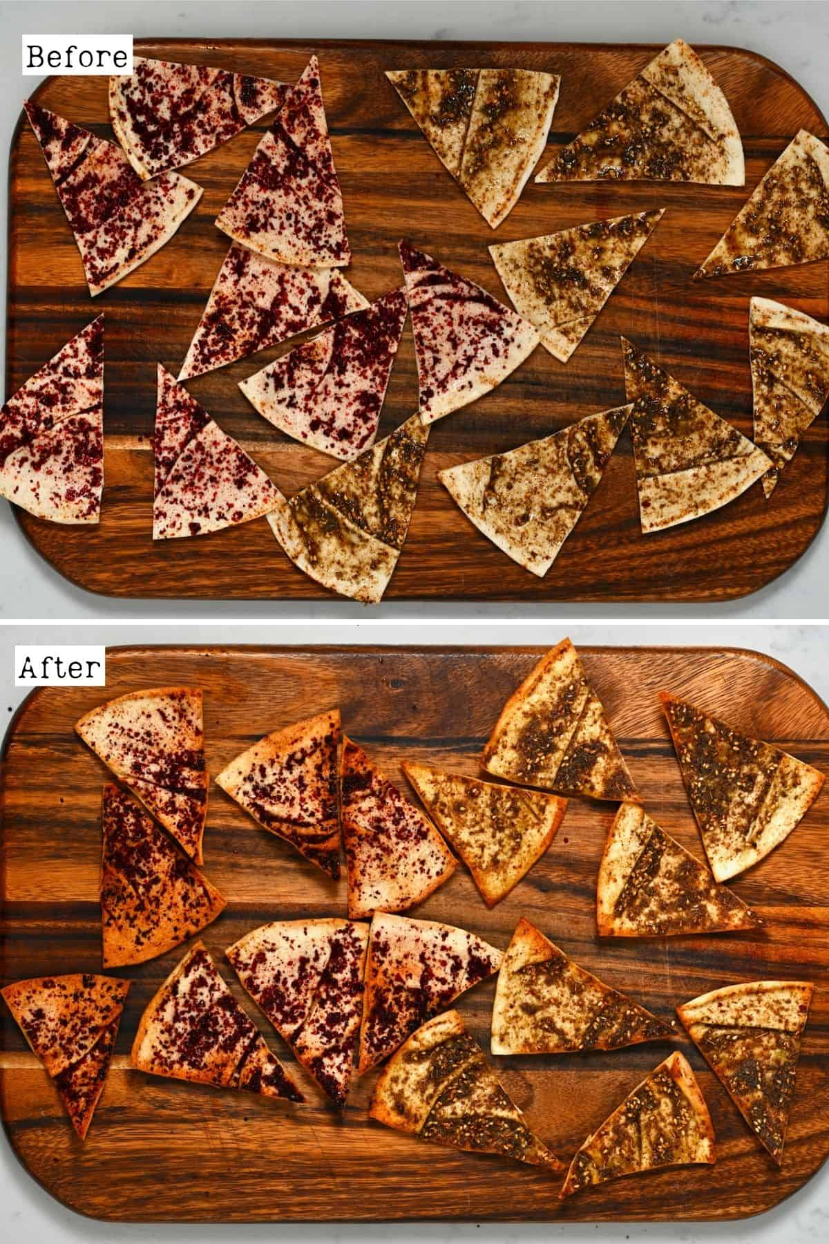 Before and after baking pita chips