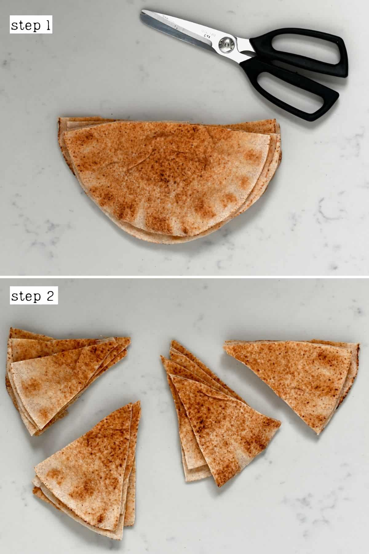 Steps for cutting pita chips