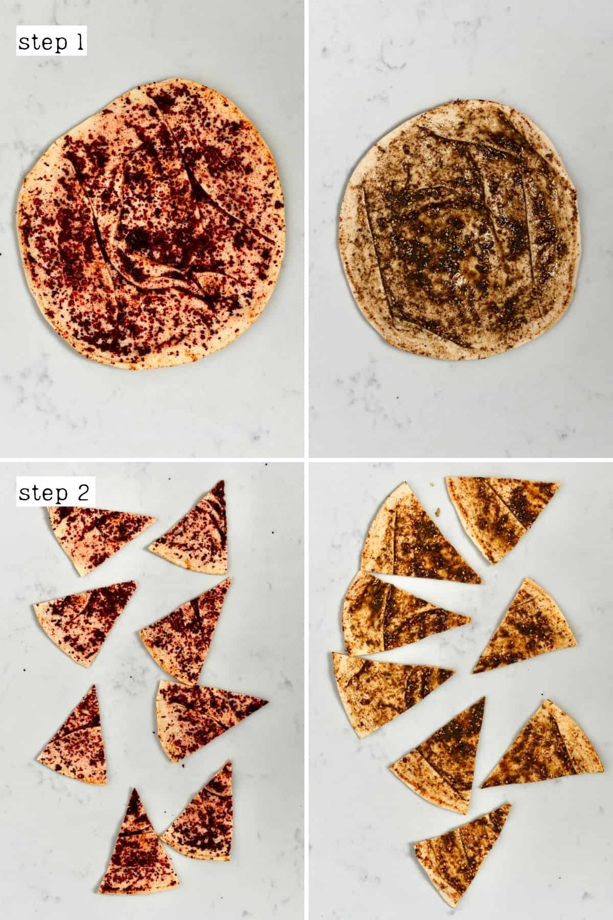 Steps for making flavored pita chips