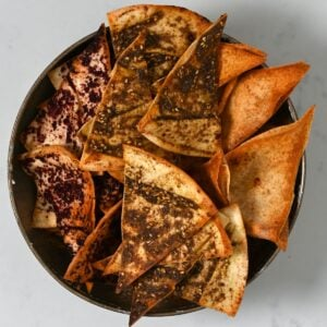 A bowl with homemade pita chips