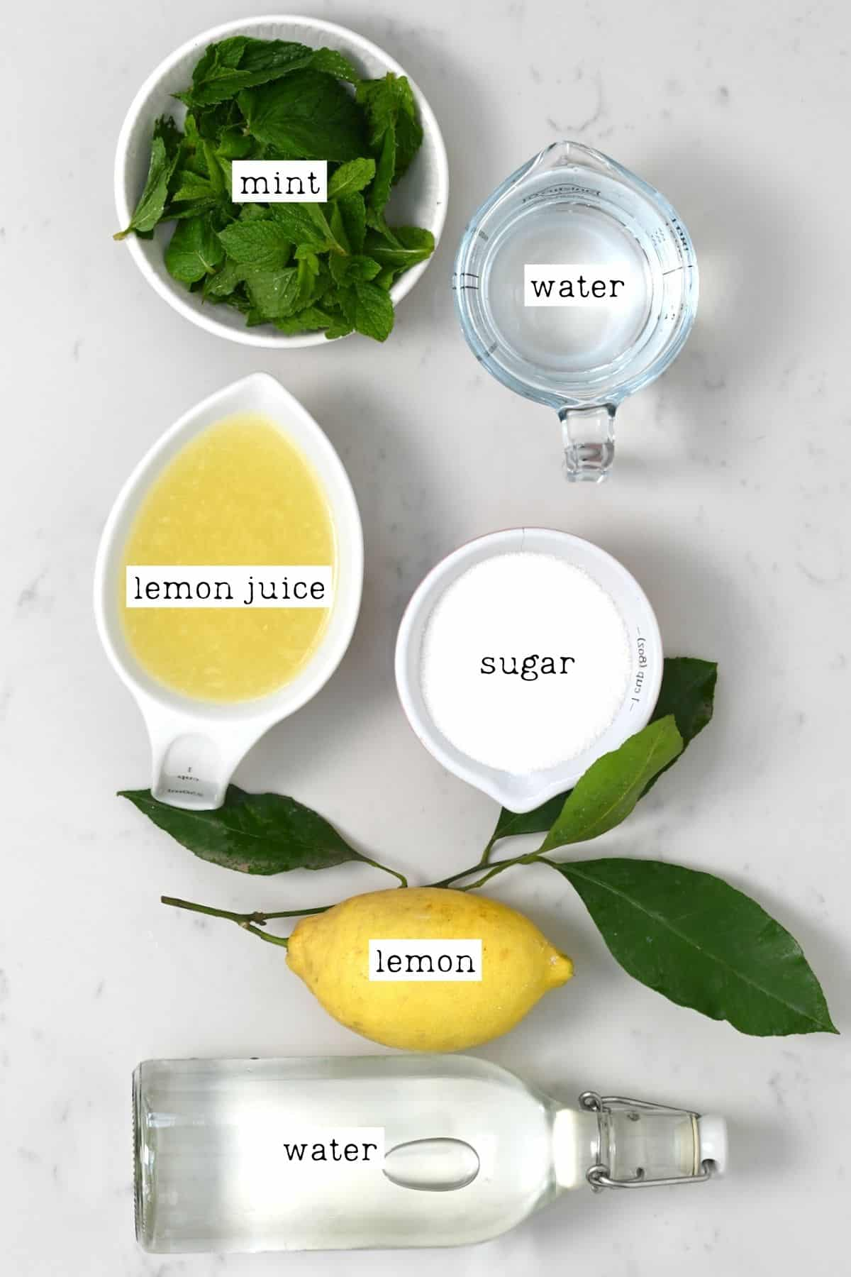 Ingredients for mint lemonade