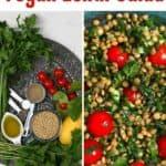Lentil salad and ingredients to make it