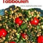 A bowl with lentil salad