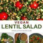 Steps for making lentil salad