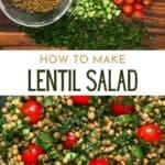 Ingredients to make lentil salad and the lentil salad