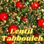 A close up of lentil salad with tomatoes