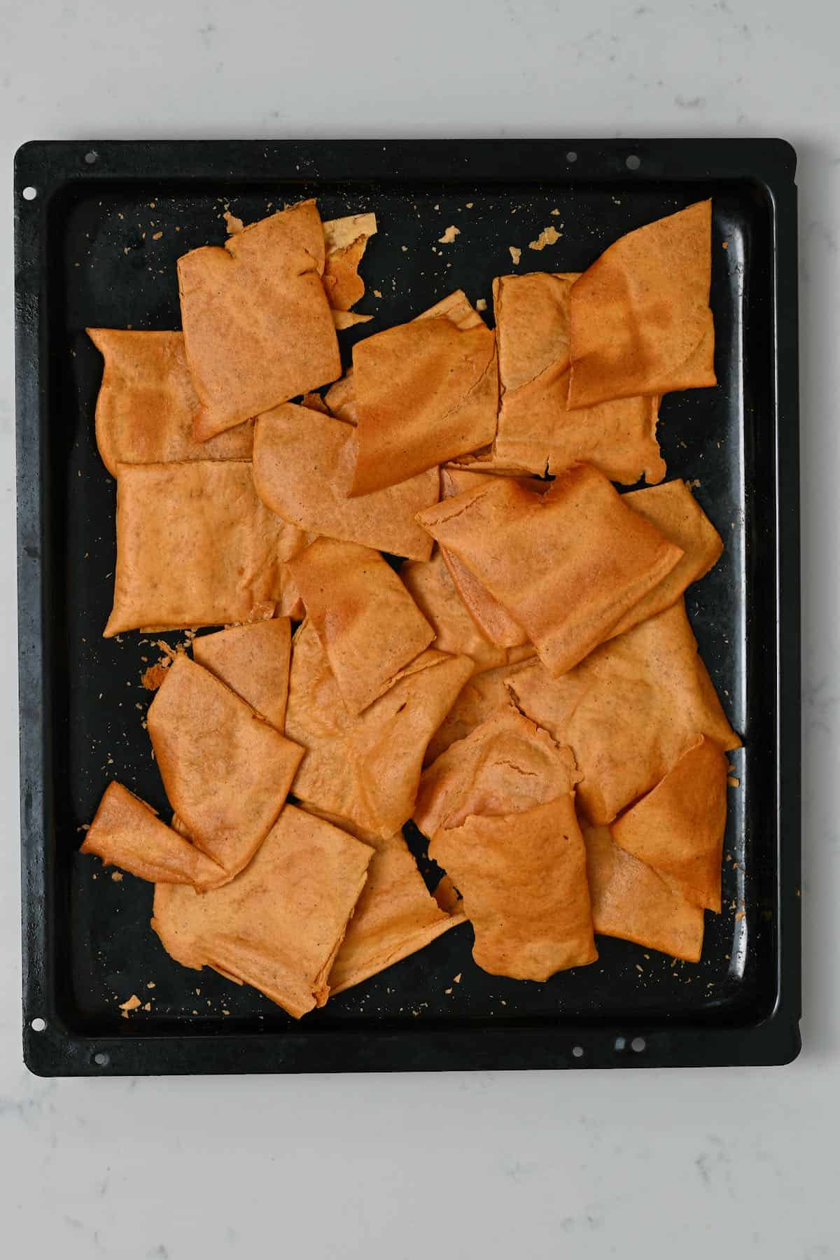 Cut crackers in a baking tray