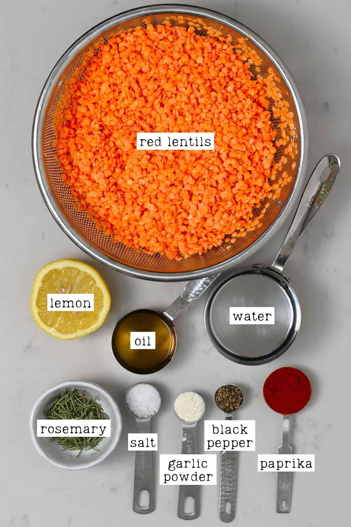 Ingredients for red lentil crackers
