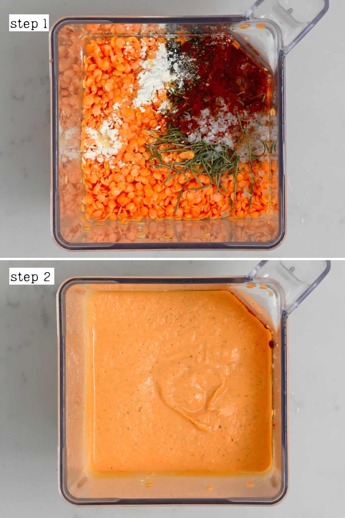 Steps for making red lentil crackers