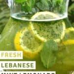 A pitcher with fresh mint lemonade