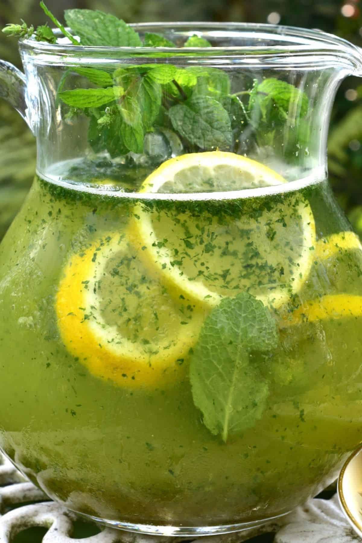 Mint lemonade in a pitcher