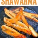 Cooking mushroom shawarma in a pan