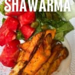 Mushroom shawarma on a plate with veggies