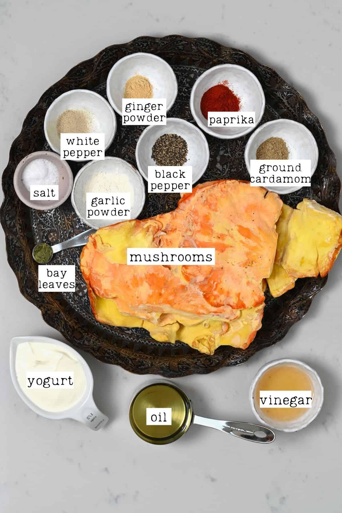 Ingredients for mushroom shawarma