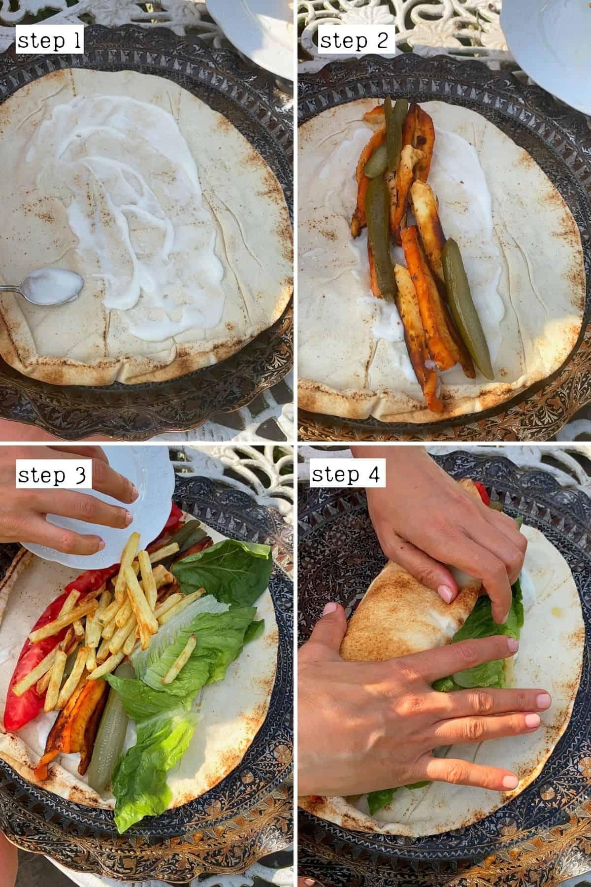 Steps for making mushroom shawarma wrap