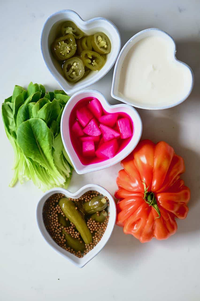 Veggies for shawarma wrap