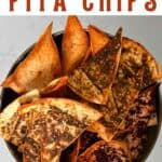 Homemade pita chips in a bowl