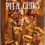 Homemade pita chips on a board