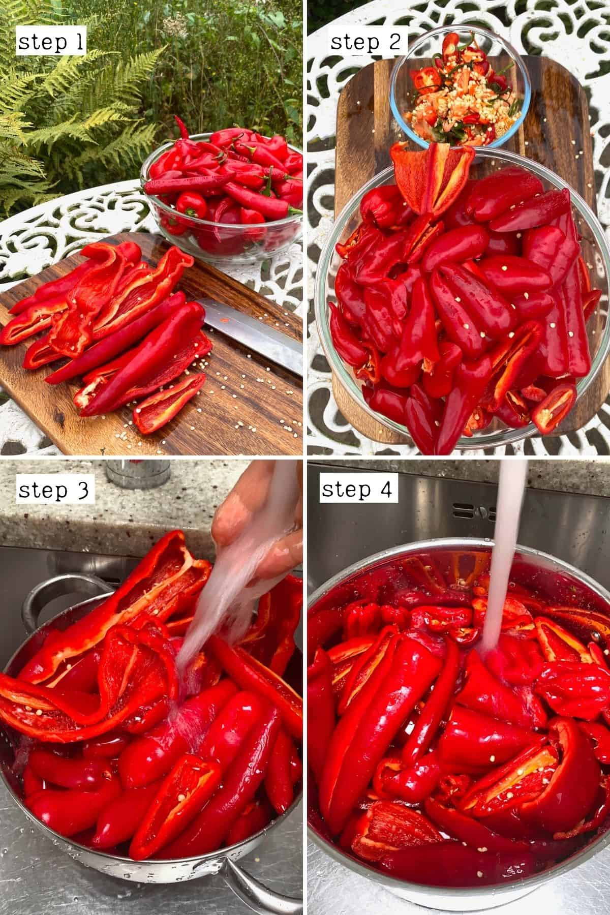 Steps for cleaning peppers