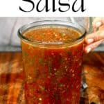 Roasted tomato salsa in a jar