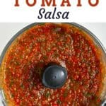 Roasted tomato salsa in a blender