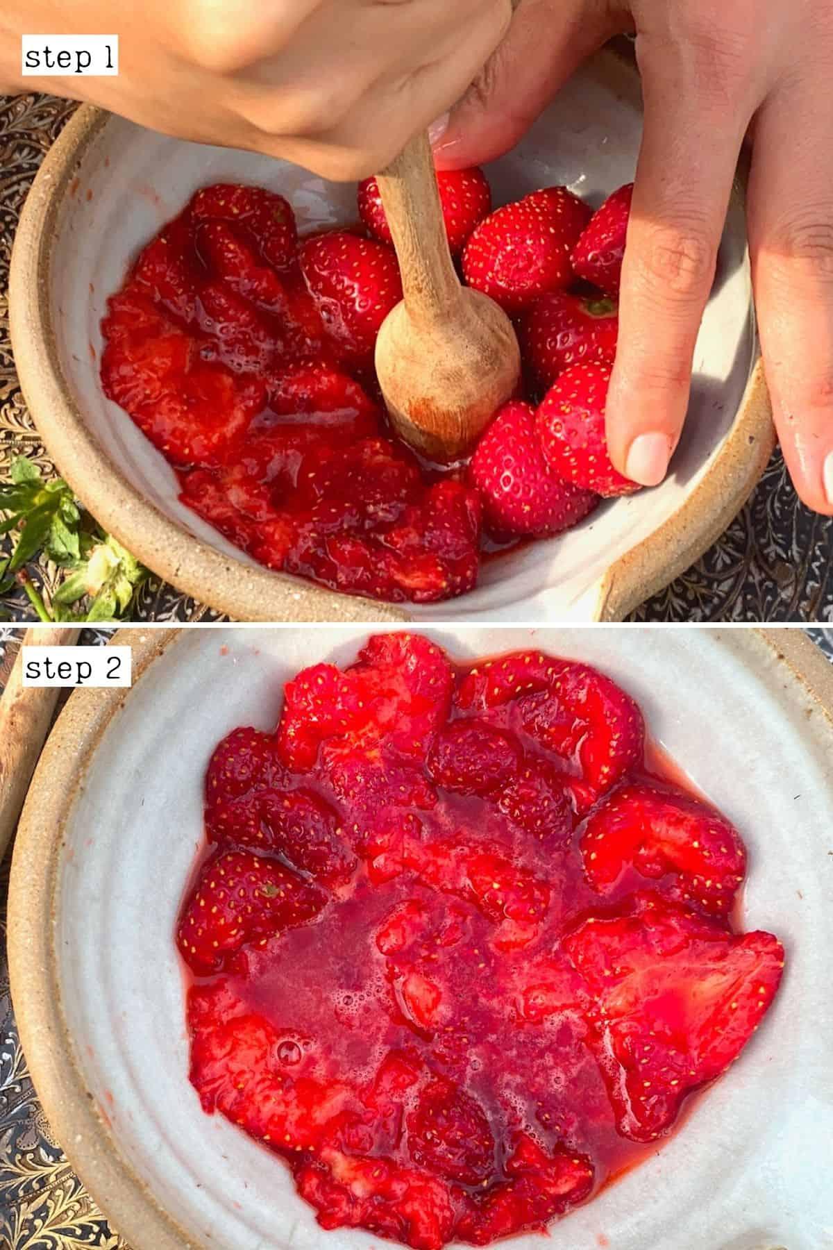 Steps for muddling strawberries
