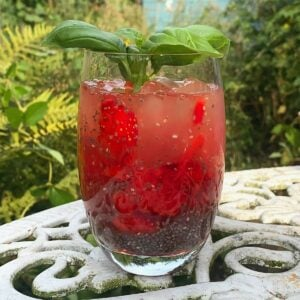 Chia coconut energy drink with basil