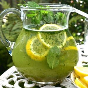 A pitcher with mint lemonade