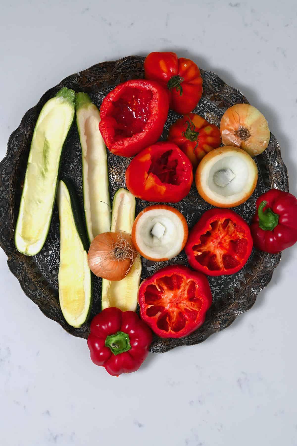 Cored mixed veggies on a platter