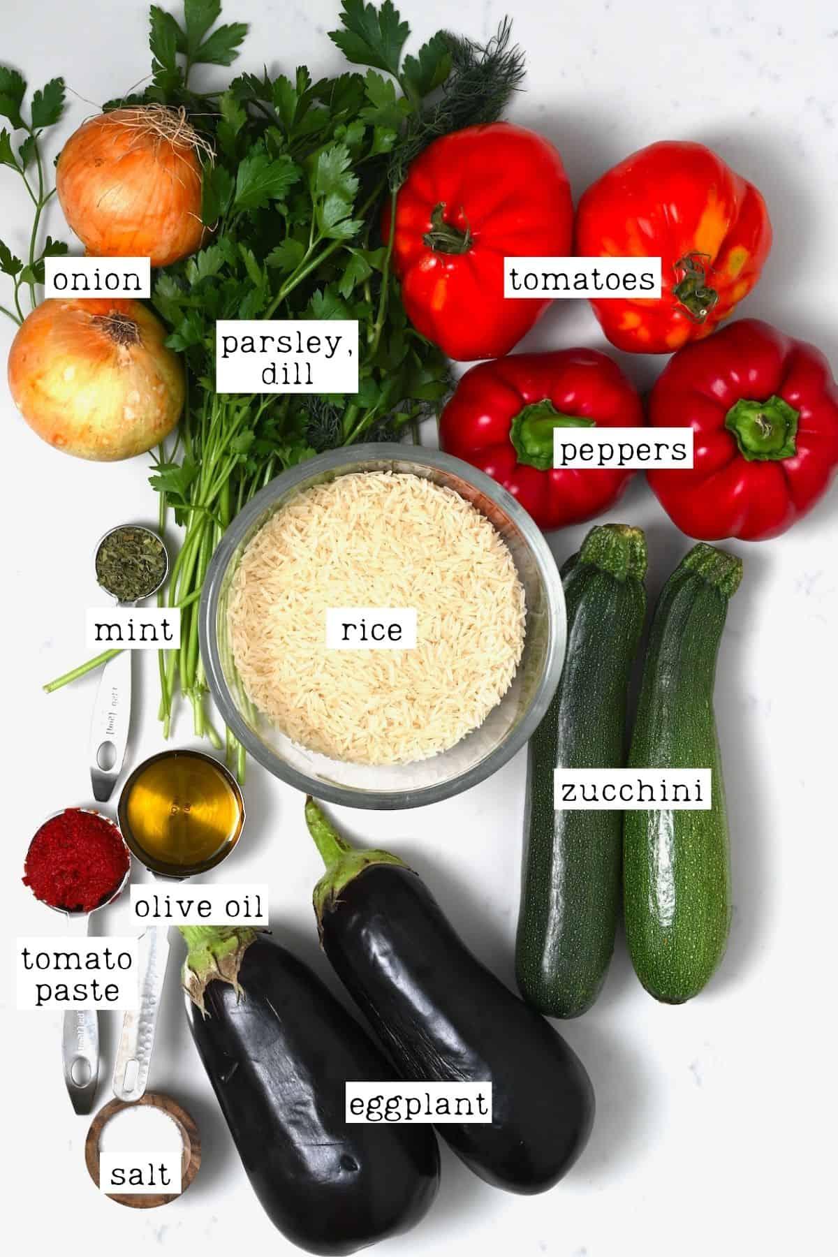 Ingredients for stuffed veggies