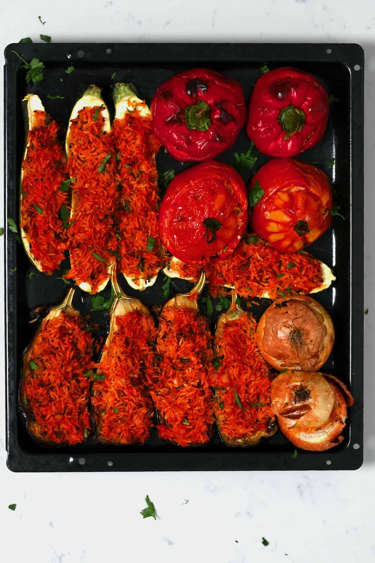 Mixed stuffed veggies on a tray