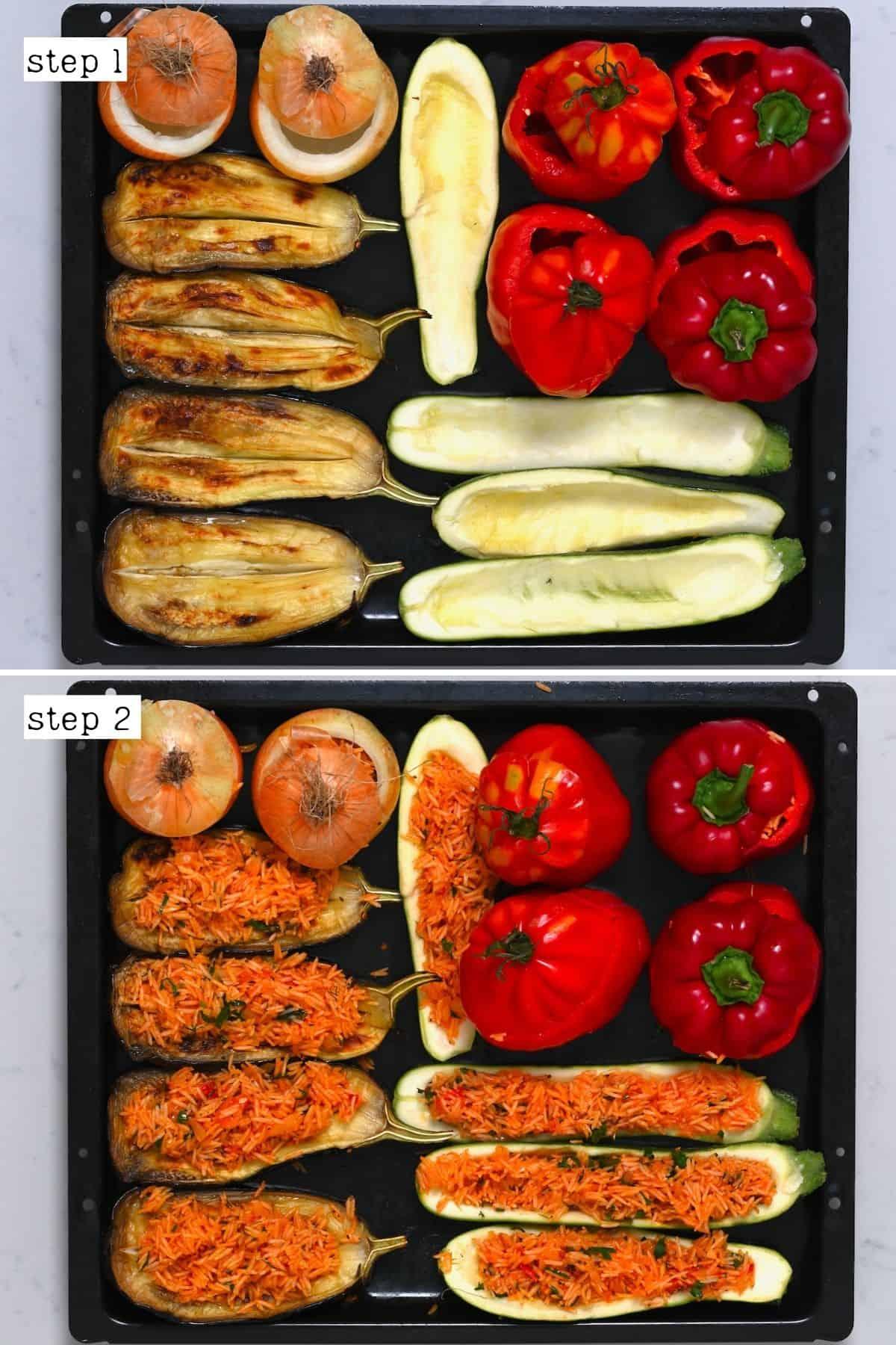 Preparing stuffed veggies
