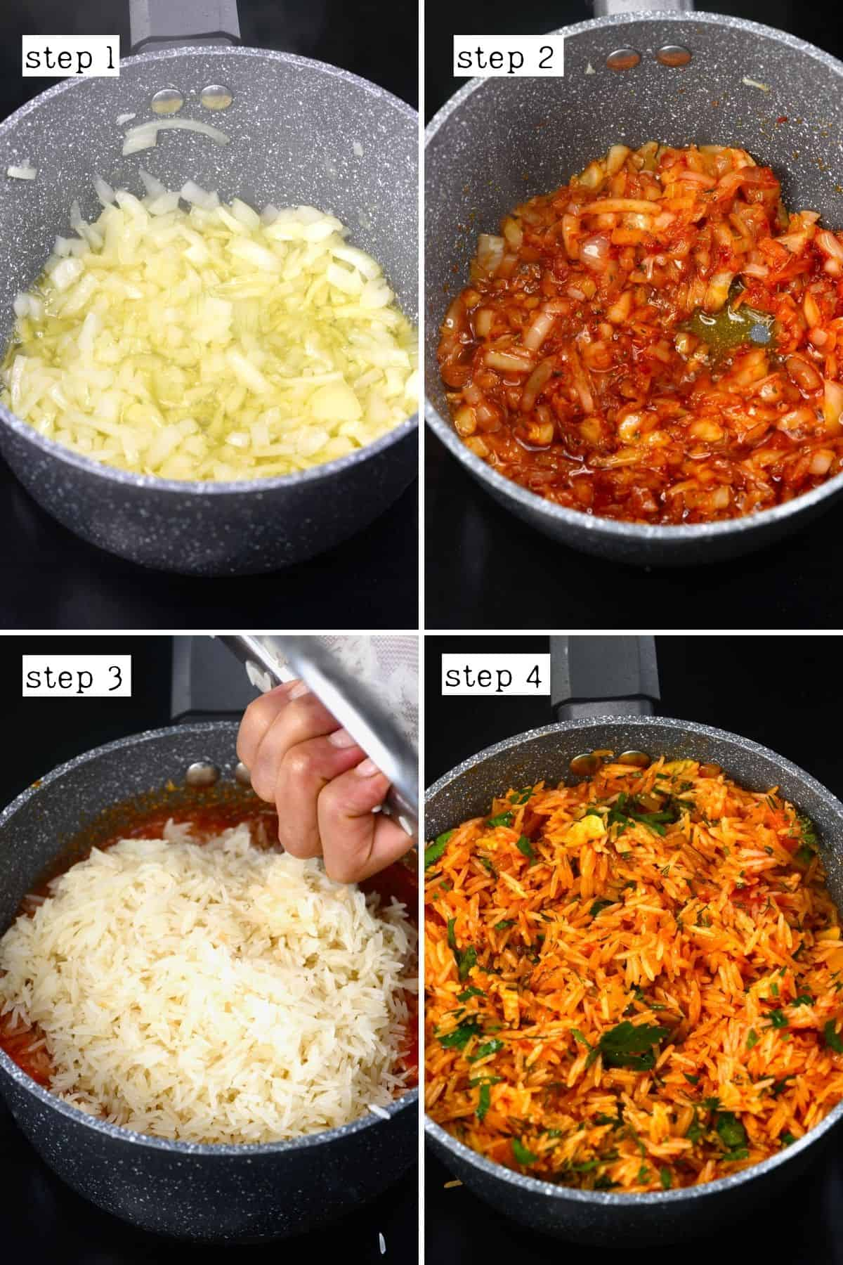 Steps for cooking rice for stuffed veggies