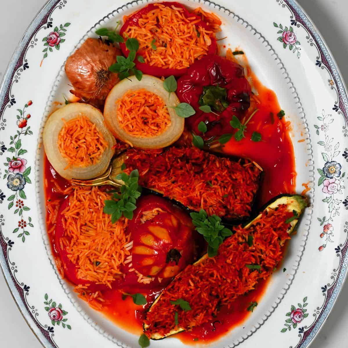 Stuffed mixed veggies served on a plate