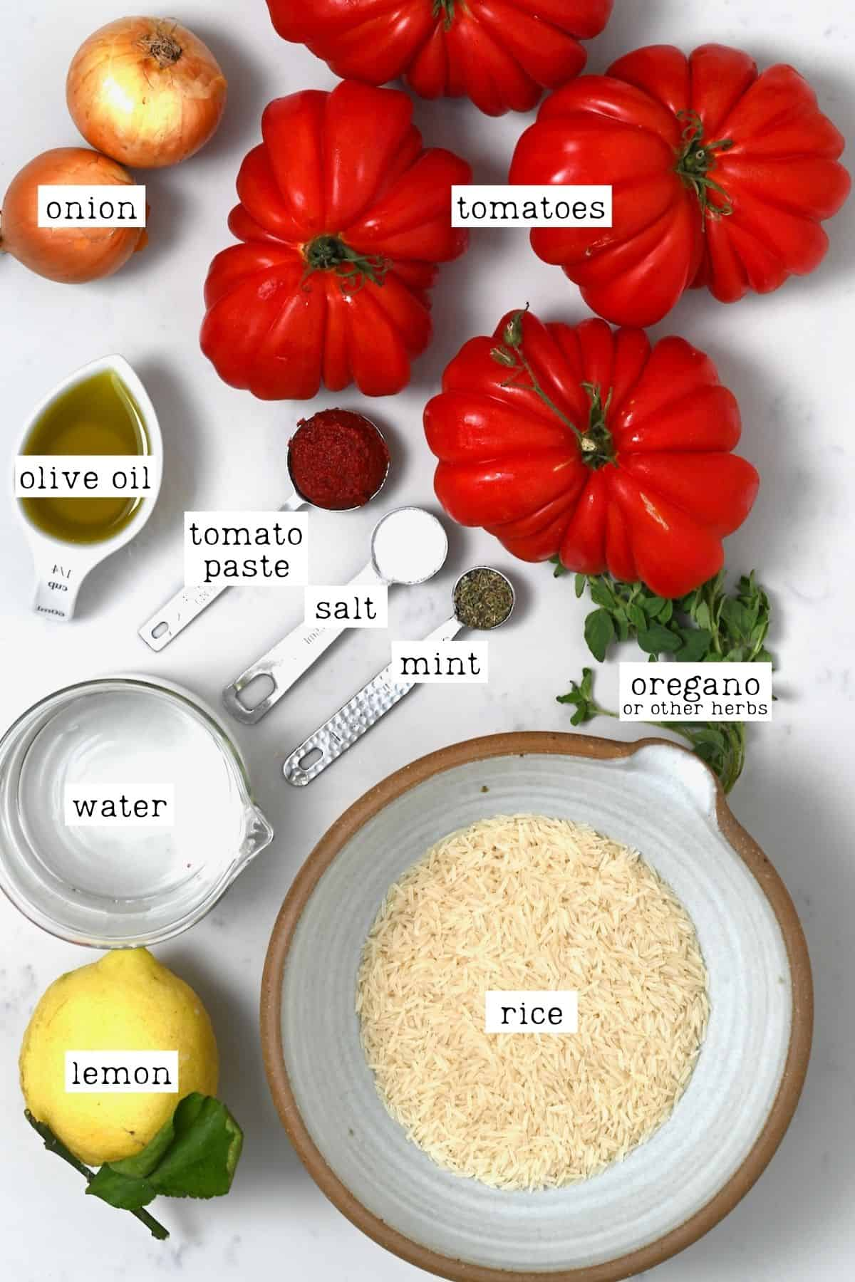 Ingredients for stuffed tomatoes