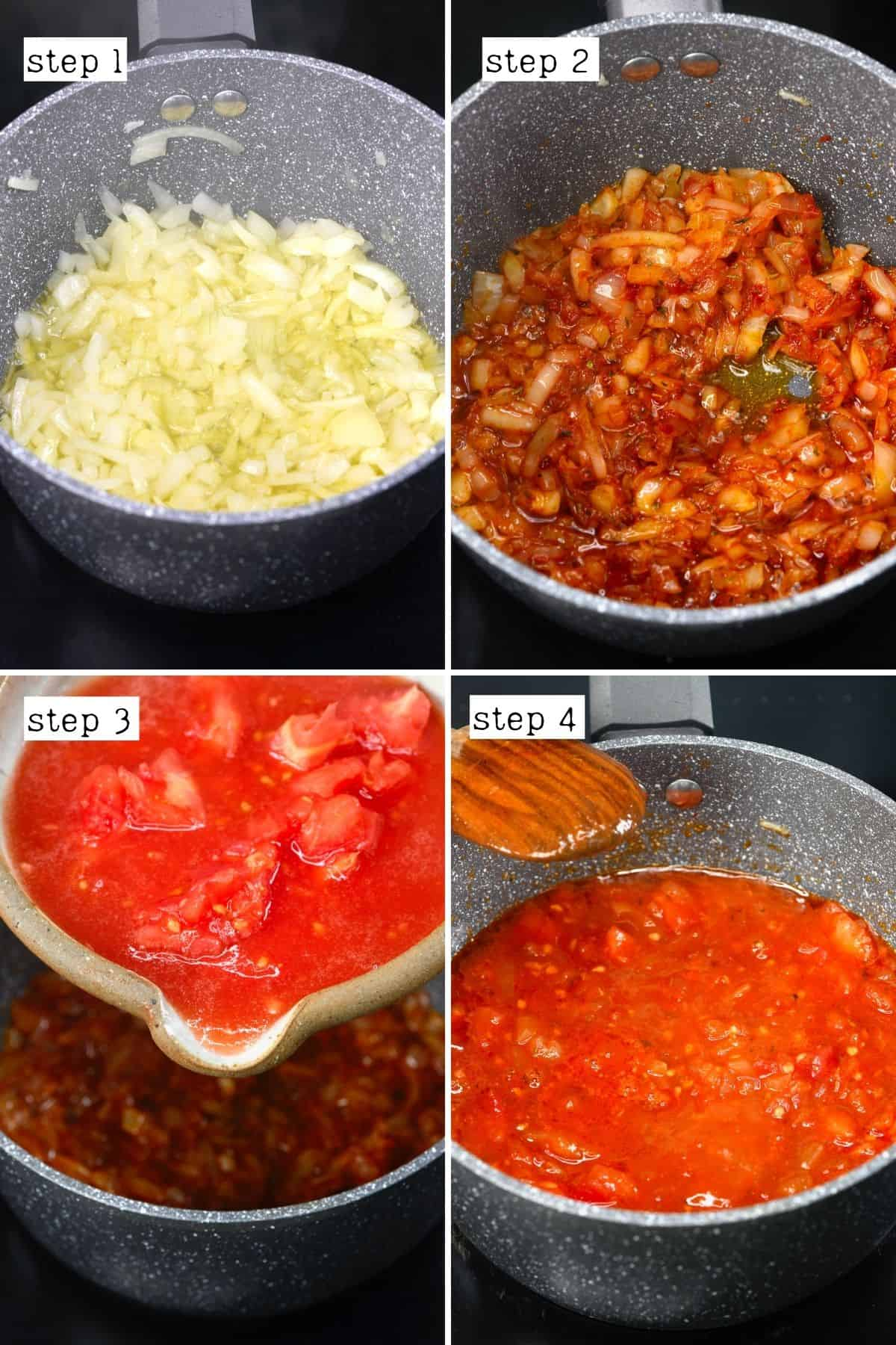 Steps for cooking onion and tomatoes