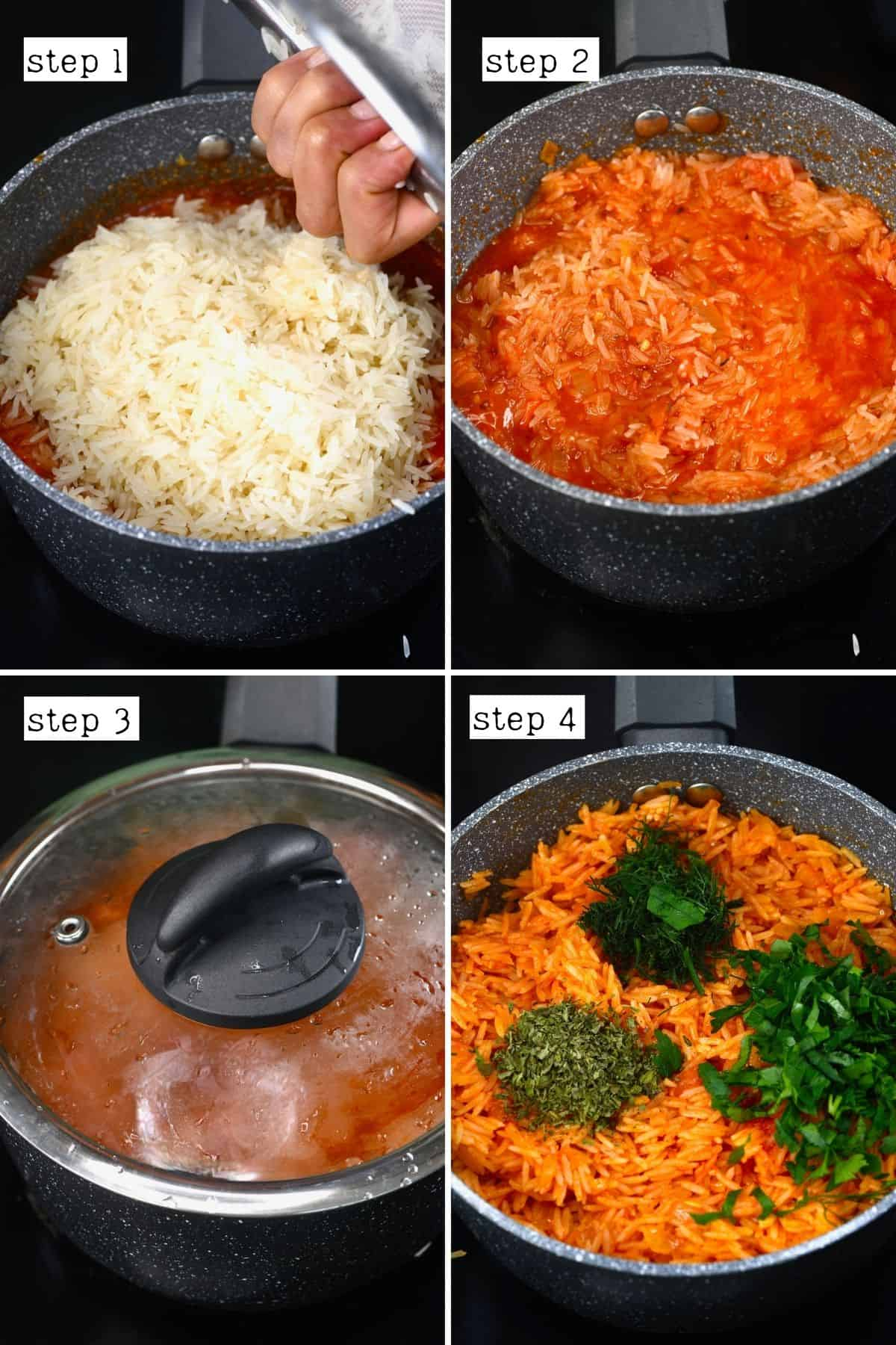 Steps for cooking rice for stuffed tomatoes
