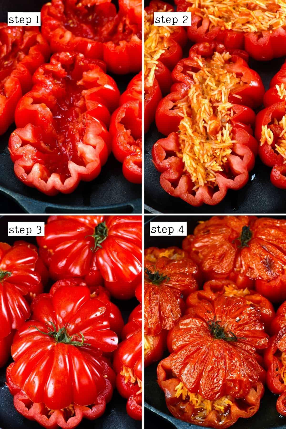 Steps for preparing stuffed tomatoes