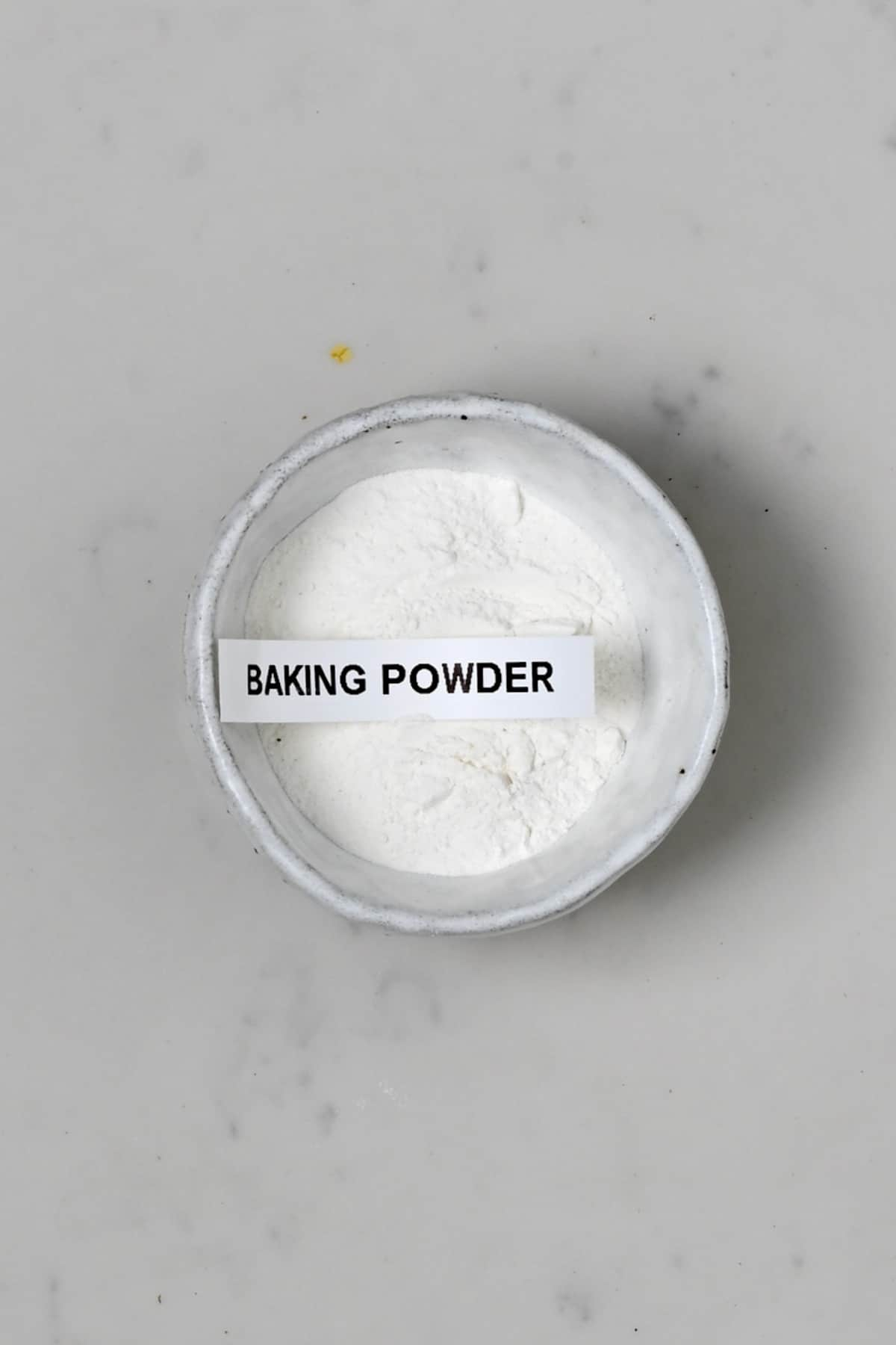 Baking powder in a small bowl