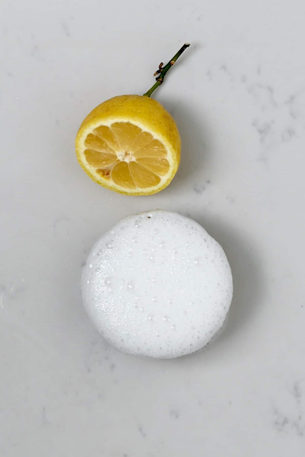 Baking soda reacting to lemon juice