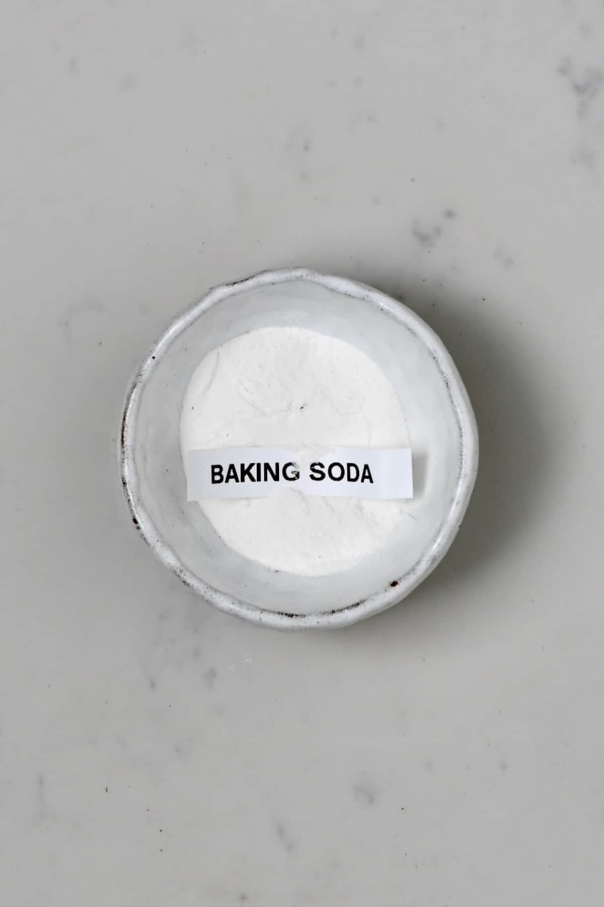 Baking soda in a small bowl