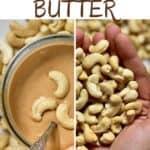Homemade cashew butter in a jar