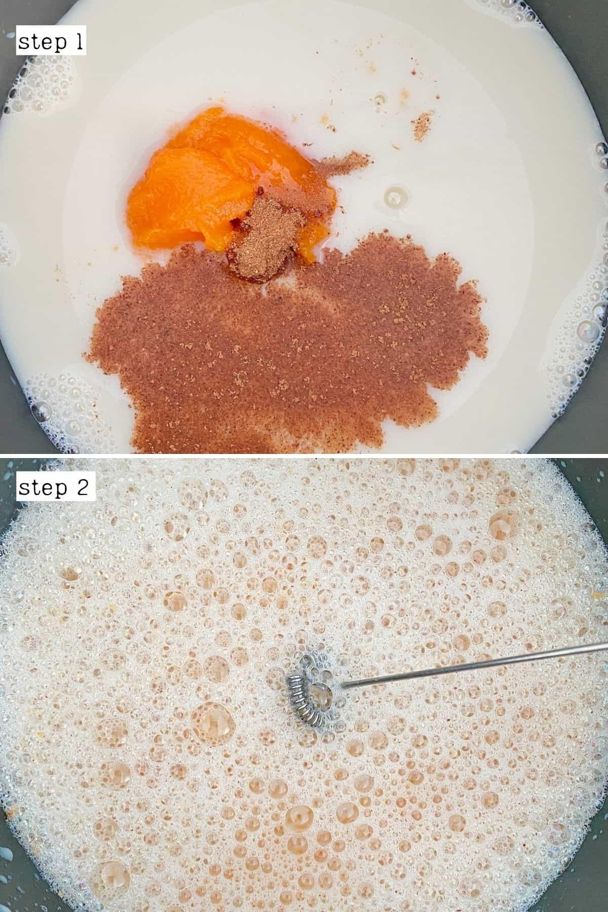 Steps for making pumpkin spice latte