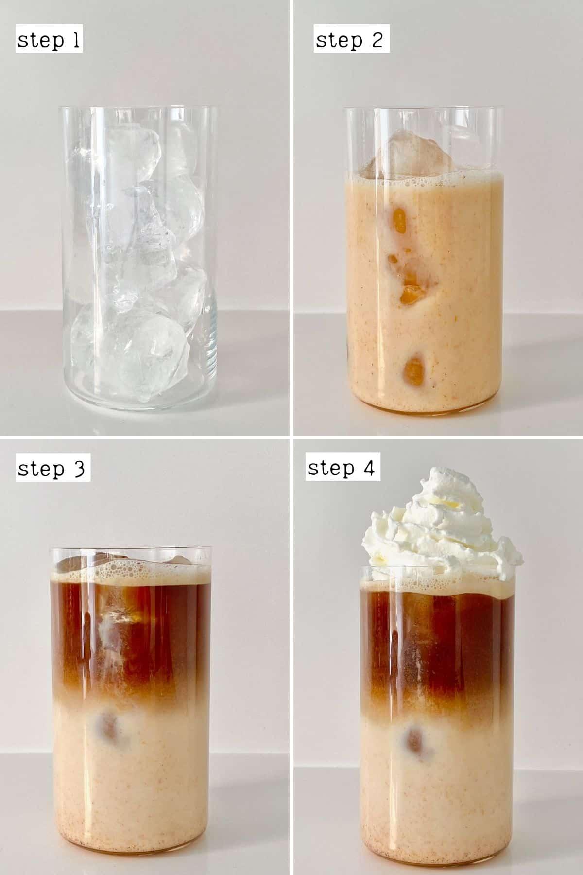 Steps for preparing iced pumpkin spice latte