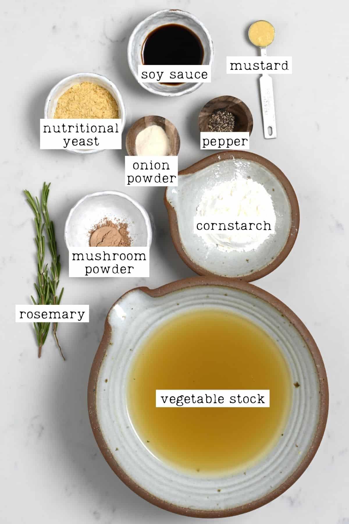 Ingredients for vegan gravy